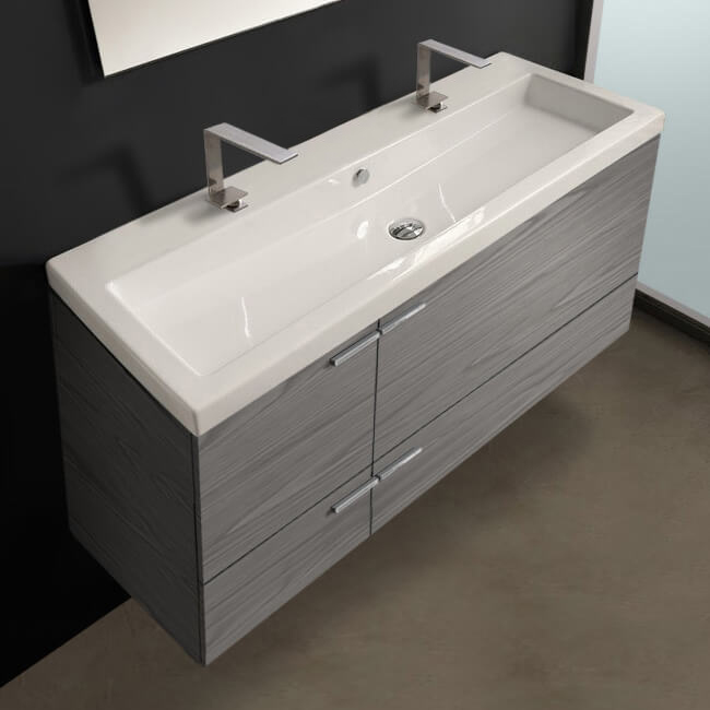 Acf Ans39 Grey Walnut By Nameek S New Space 47 Inch Vanity Cabinet With Fitted Sink Thebathoutlet