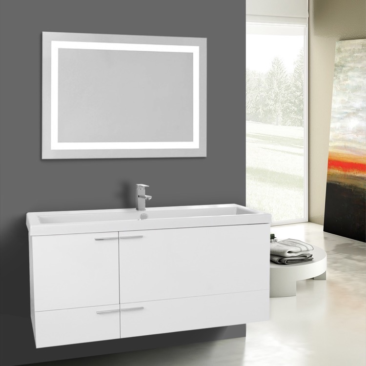 Bathroom Vanity, ACF ANS1033, 47 Inch Glossy White Bathroom Vanity Set, Large Basin Sink, Lighted Mirror Included