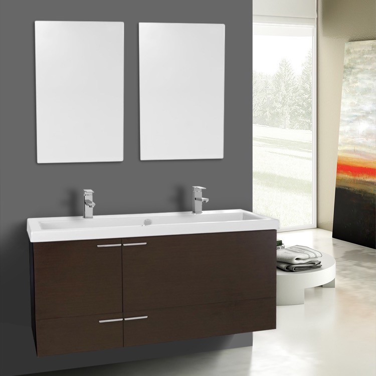 depth sink combo bathroom ribbon finesse small cabinets vanity blue inch double narrow top