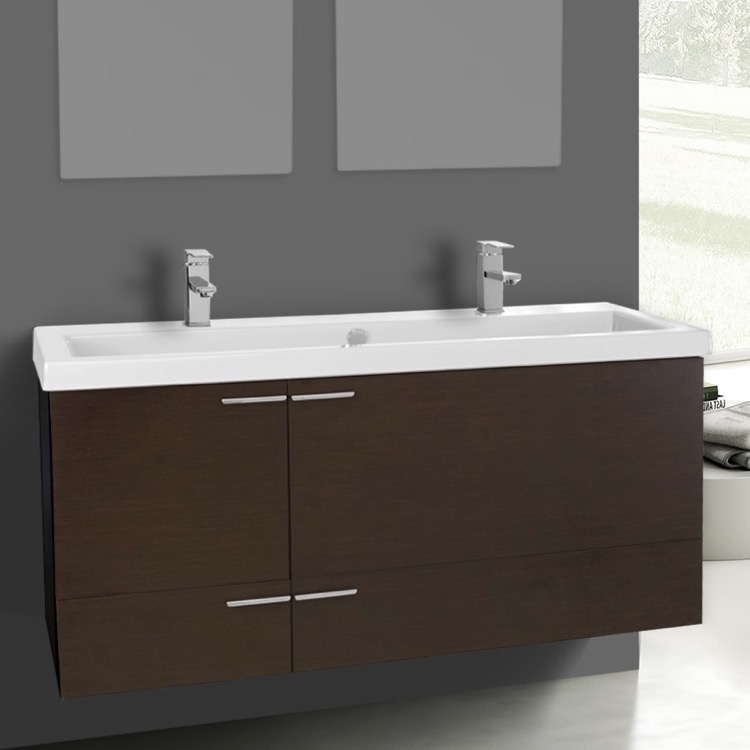 Bathroom Vanity, ACF ANS1105, 47 Inch Wenge Bathroom Vanity Set, Double Sink
