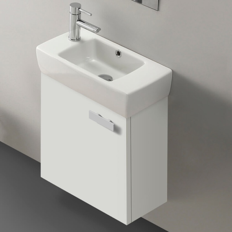 Bathroom Vanity, ACF C13-Glossy White, 18 Inch Vanity Cabinet With Fitted Sink