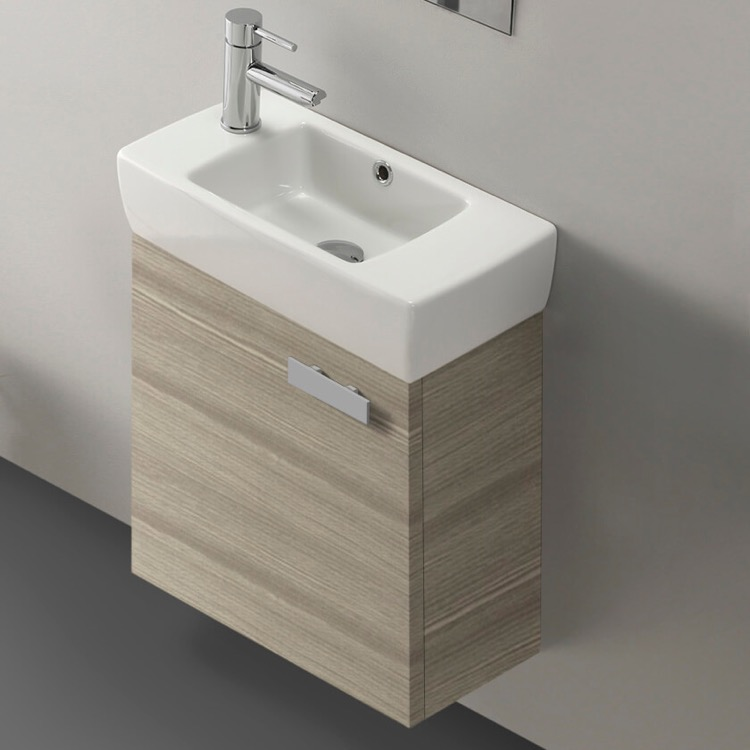 Bathroom Vanity, ACF C13-Larch Canapa, 18 Inch Vanity Cabinet With Fitted Sink