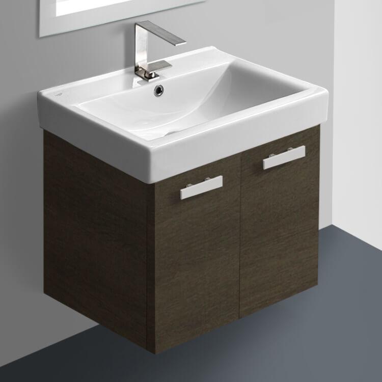 Acf C143 By Nameek S Cubical 24 Inch Grey Oak Wall Mount Bathroom