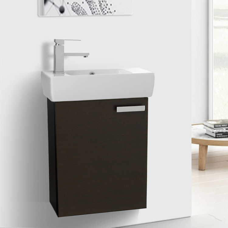 Bathroom Vanity, ACF C13-Wenge, 18 Inch Vanity Cabinet With Fitted Sink