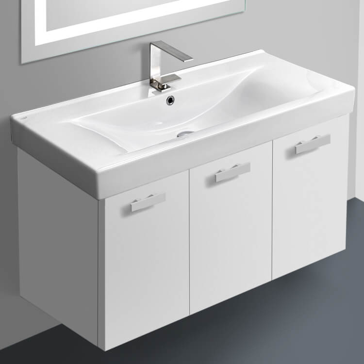 Bathroom Vanity, ACF C19-Glossy White, 39 Inch Vanity Cabinet With Fitted Sink