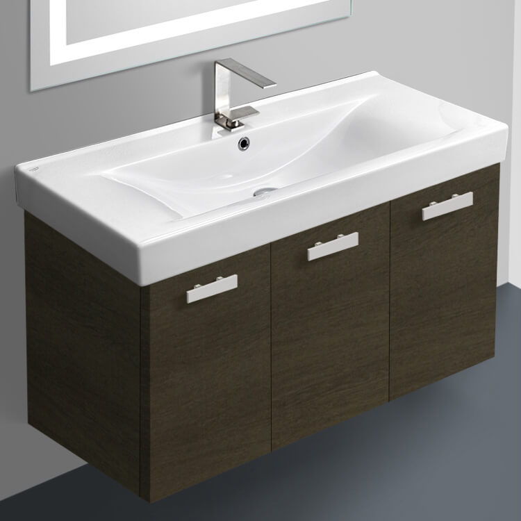 Bathroom Vanity, ACF C19-Grey Oak, 39 Inch Vanity Cabinet With Fitted Sink