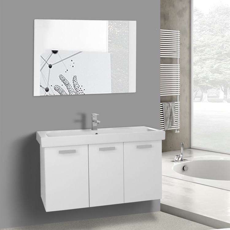 Bathroom Vanity, ACF C625, 39 Inch Glossy White Wall Mount Bathroom Vanity with Fitted Ceramic Sink, Mirror Included