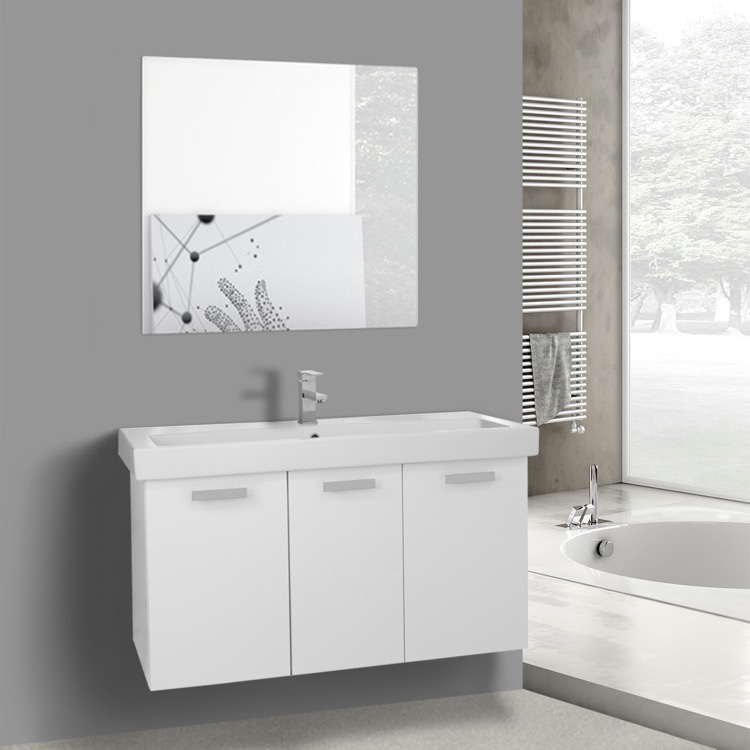Bathroom Vanity, ACF C626, 39 Inch Glossy White Wall Mount Bathroom Vanity with Fitted Ceramic Sink, Mirror Included