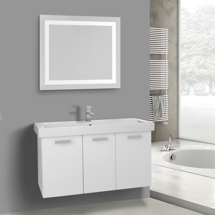 Bathroom Vanity, ACF C627, 39 Inch Glossy White Wall Mount Bathroom Vanity with Fitted Ceramic Sink, Lighted Mirror Included