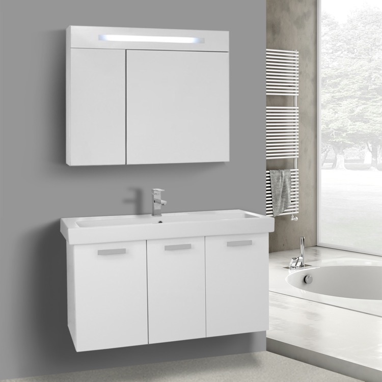 Bathroom Vanity, ACF C979, 39 Inch Glossy White Wall Mount Bathroom Vanity with Fitted Ceramic Sink, Lighted Medicine Cabinet Included