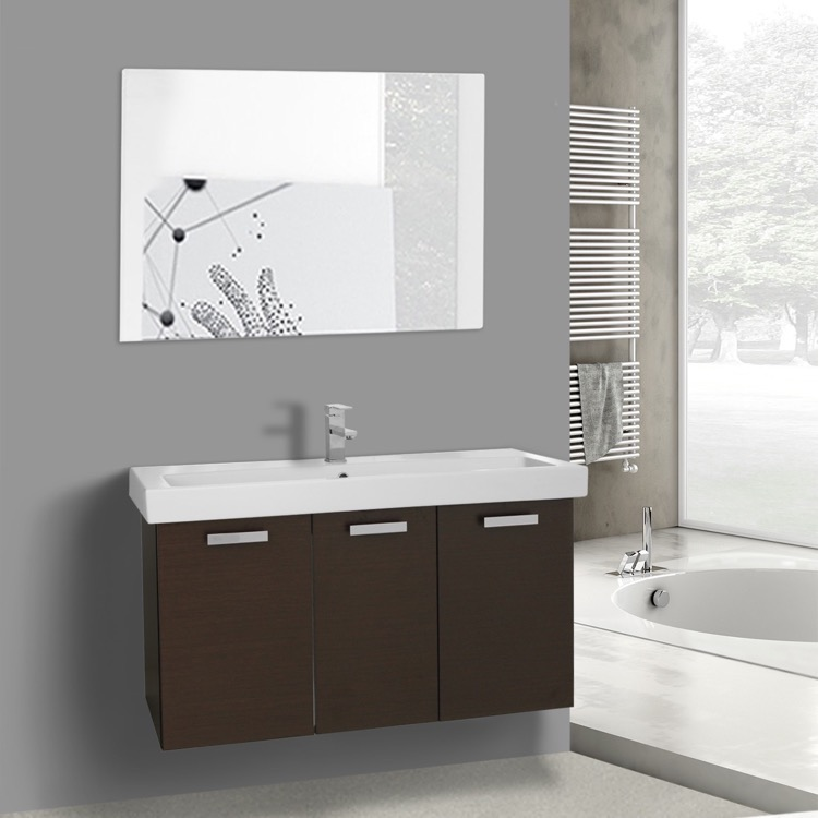 Bathroom Vanity, ACF C629, 39 Inch Wenge Wall Mount Bathroom Vanity with Fitted Ceramic Sink, Mirror Included