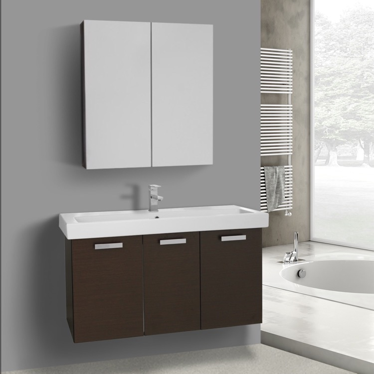 Bathroom Vanity, ACF C990, 39 Inch Wenge Wall Mount Bathroom Vanity with Fitted Ceramic Sink, Medicine Cabinet Included
