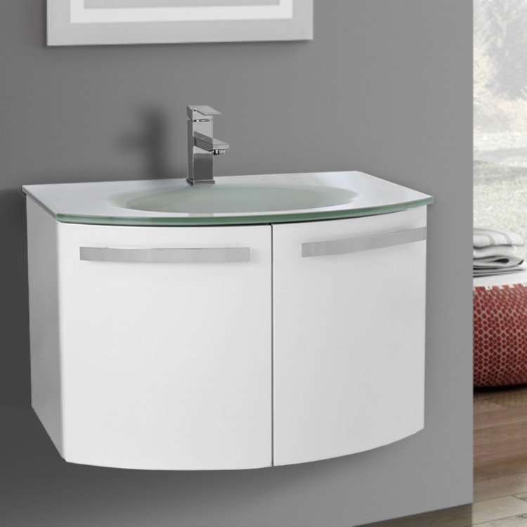 Bathroom Vanity, ACF CD27, 28 Inch Glossy White Bathroom Vanity With Black  Glass Top