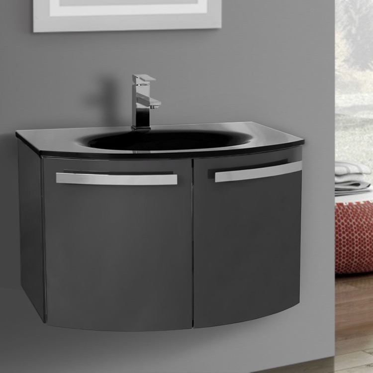 Bathroom Vanity, ACF CD29, 28 Inch Glossy Anthracite Bathroom Vanity With  Black Glass Top