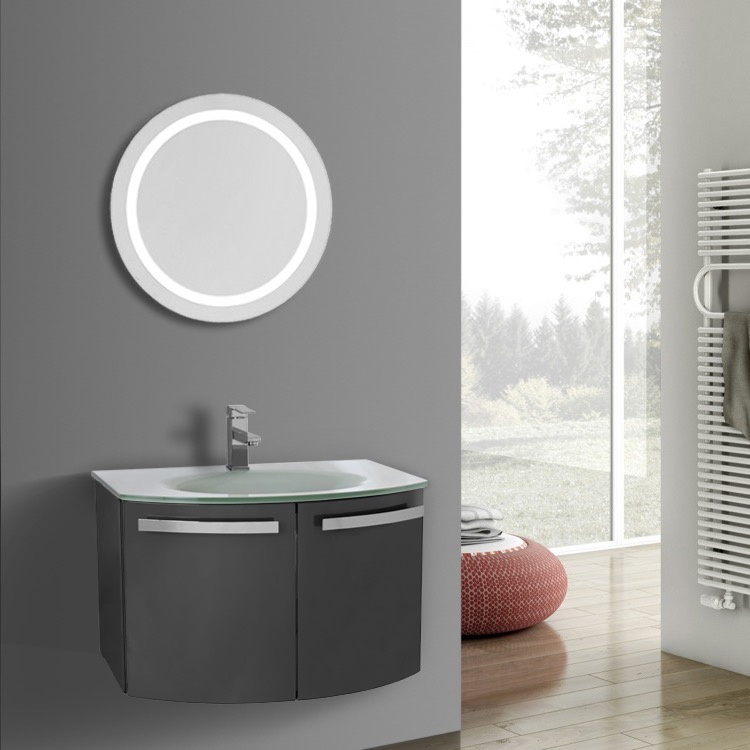 Bathroom Vanity, ACF CD64, 28 Inch Glossy Anthracite Bathroom Vanity With  White Glass Top