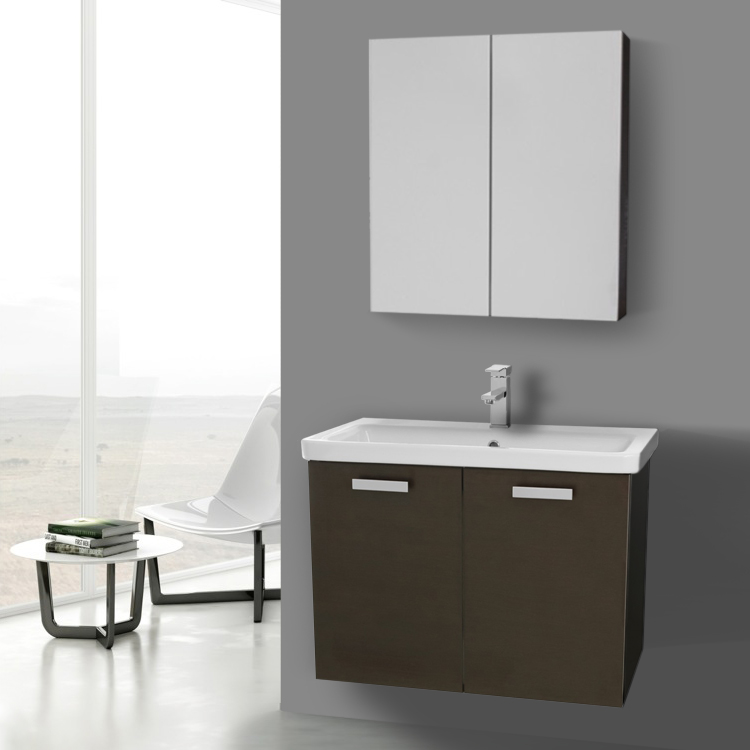 32 Inch Wenge Wall Mount Vanity With Ed Ceramic Sink Medicine Cabinet Included