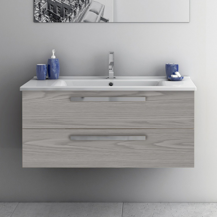 Bathroom Vanity, ACF DA06-Grey Walnut, 38 Inch Vanity Cabinet With Fitted Sink