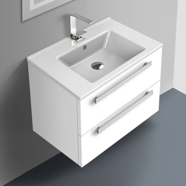 Acf Da274 By Nameek S Dadila 25 Inch Glossy White Wall Mount Bathroom Vanity Set 2 Drawers Medicine Cabinet Included Thebathoutlet