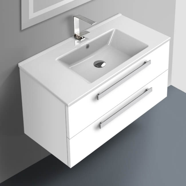 Bathroom Vanity, ACF DA05-Glossy White, 33 Inch Vanity Cabinet With Fitted Sink