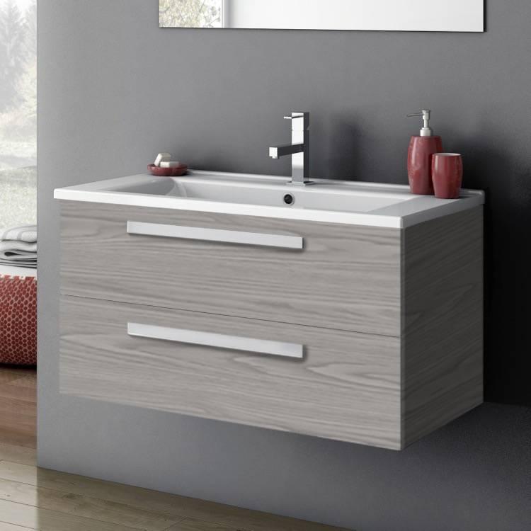 Acf Da05 Grey Walnut By Nameek S Dadila Wall Mount Bathroom Vanity Modern 33 With Counter Space Grey Walnut Thebathoutlet
