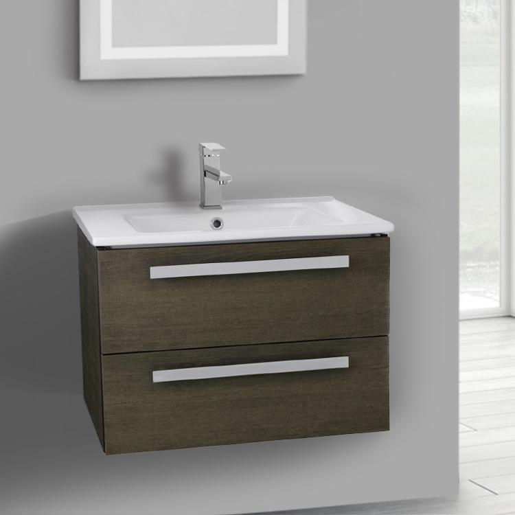 Ordinaire Bathroom Vanity, ACF DA26, 25 Inch Grey Oak Wall Mount Bathroom Vanity Set,