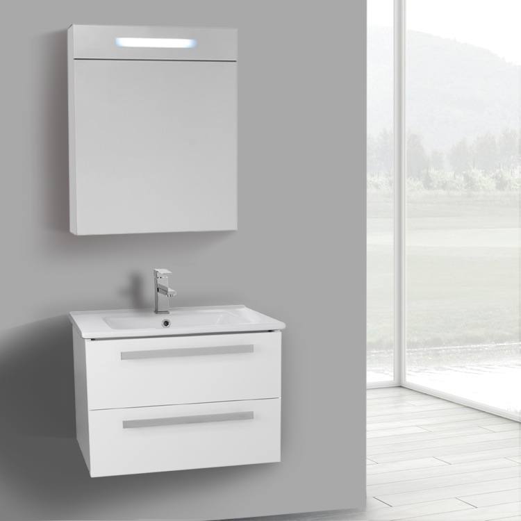 Bathroom Vanity, ACF DA273, 25 Inch Glossy White Wall Mount Bathroom Vanity Set, 2 Drawers, Lighted Medicine Cabinet Included