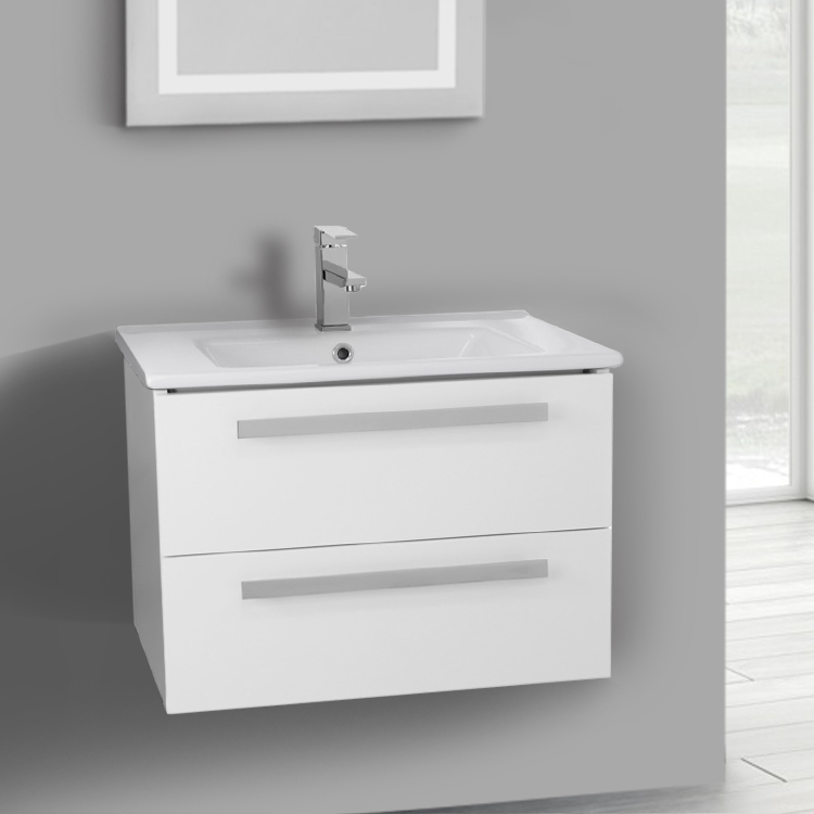 Bathroom Vanity, ACF DA04-Glossy White, 24 Inch Vanity Cabinet With Fitted Sink