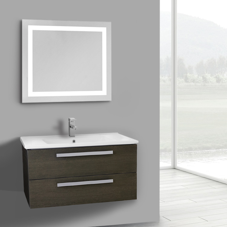 Inch Grey Oak Wall Mount Bathroom Vanity Set Drawers Lighted - 33 inch bathroom vanity