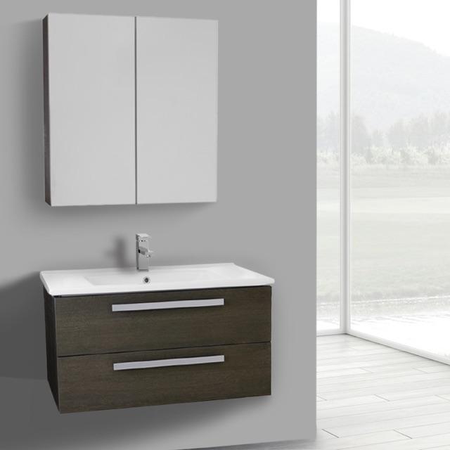 33 Inch Grey Oak Wall Mount Bathroom Vanity Set, 2 Drawers, Medicine Cabinet  Included