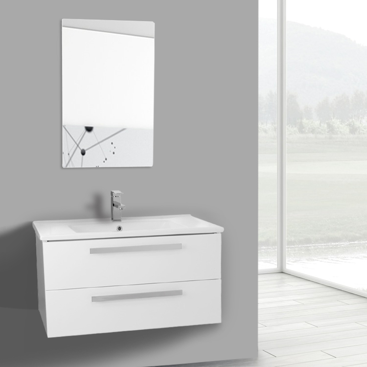 33 inch glossy white wall mount bathroom vanity set 2