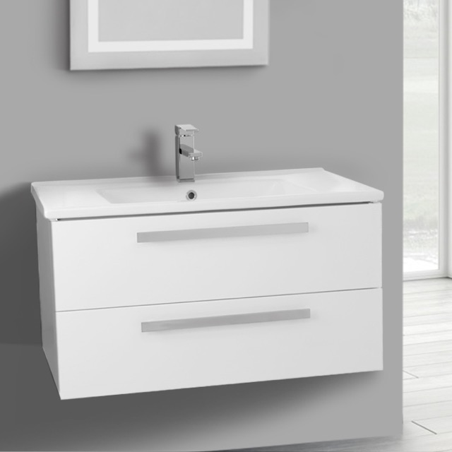 Inch Glossy White Wall Mount Bathroom Vanity Set Drawers ACF - 33 inch bathroom vanity