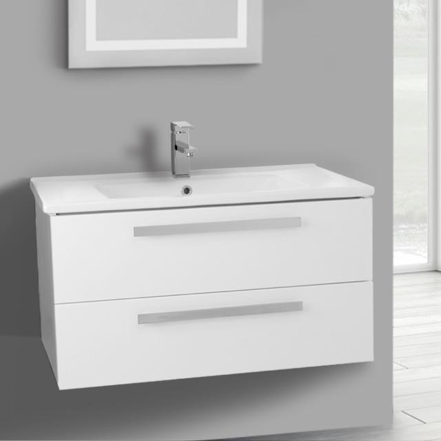 Bathroom Vanity Acf Da28 33 Inch Glossy White Wall Mount Set