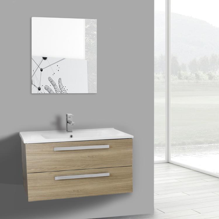 Bathroom Vanity Acf Da98 33 Inch Style Oak Wall Mount Set