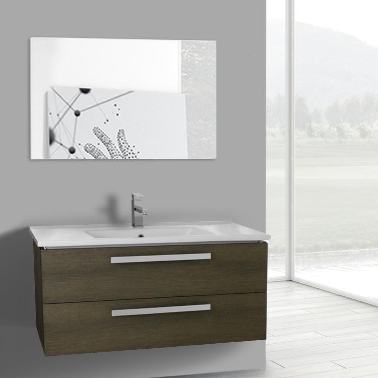 Bathroom Vanity, ACF DA105, 38 Inch Grey Oak Wall Mount Bathroom Vanity Set,