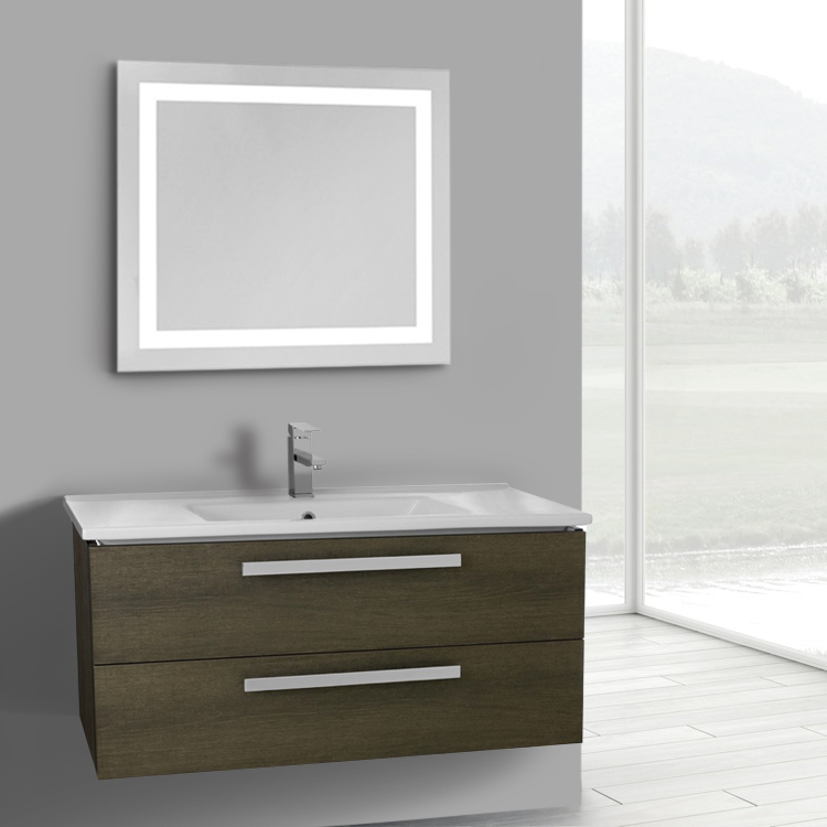 Vanity Lighted Mirror Wall Mount : 38 Inch Grey Oak Wall Mount Bathroom Vanity Set, 2 Drawers, Lighted Mirror Included, ACF DA107 ...