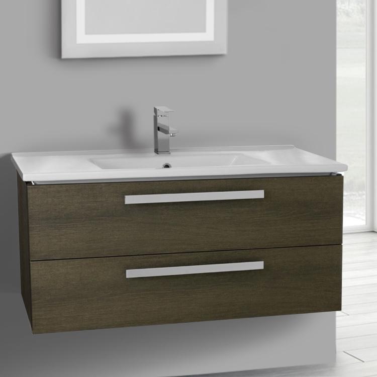 Inch Grey Oak Wall Mount Bathroom Vanity Set Drawers ACF DA - 38 inch bathroom vanity