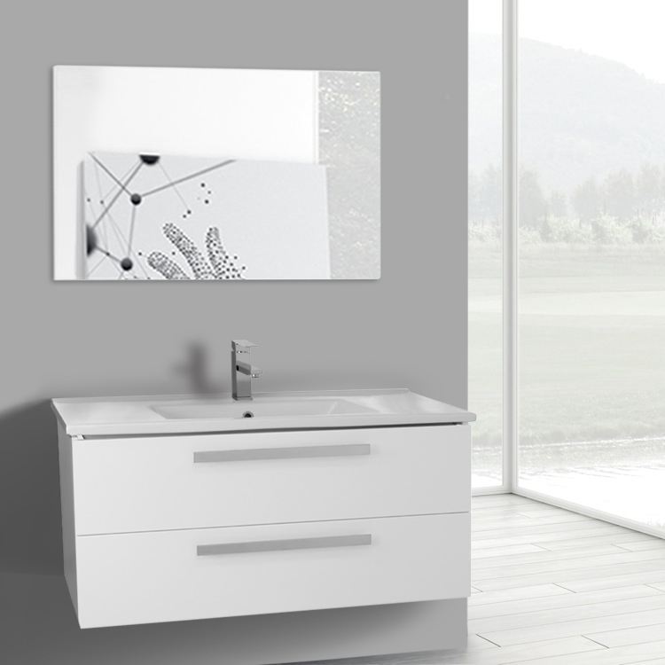 Bathroom Vanity, ACF DA12, 38 Inch Glossy White Bathroom Vanity Set