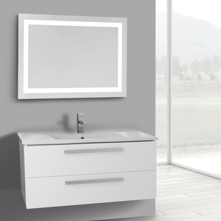 Bathroom Vanity, ACF DA115, 38 Inch Glossy White Wall Mount Bathroom Vanity Set, 2 Drawers, Lighted Mirror Included