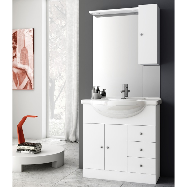 32 inch glossy white bathroom vanity set, acf lon02 - thebathoutlet 32 Inch Bathroom Vanity