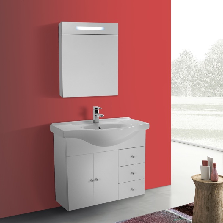 32 Inch Glossy White Wall Mounted Bathroom Vanity Set Curved Sink Lighted Cine Cabinet Included