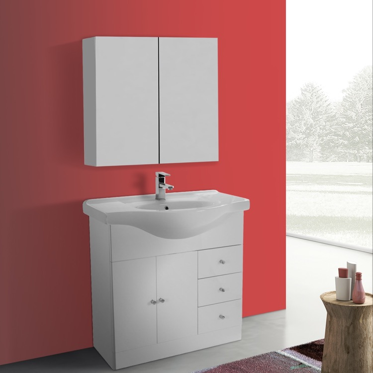 32 Inch Glossy White Floor Standing Bathroom Vanity Set Curved Sink Medicine Cabinet Included