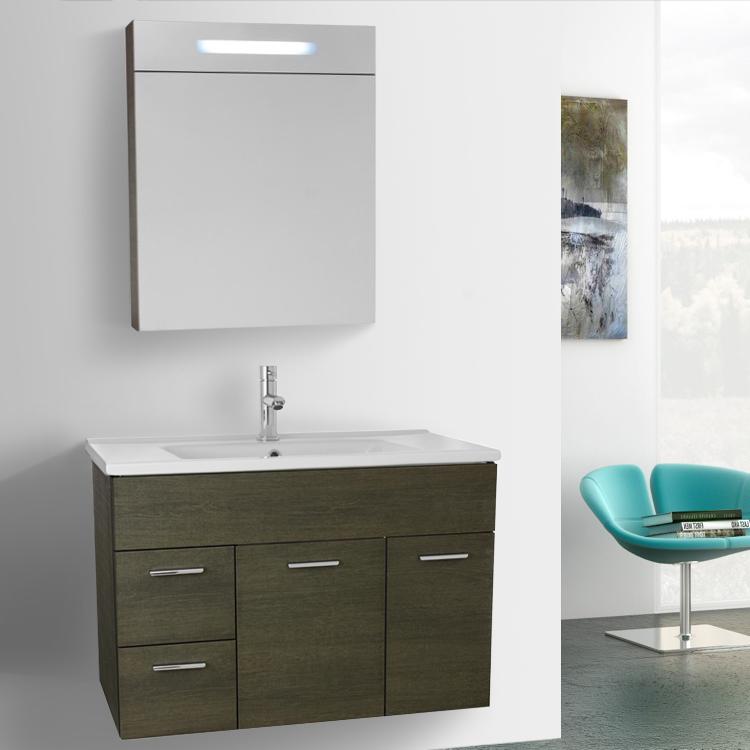 33 Inch Grey Oak Bathroom Vanity Set, Wall Mounted, Lighted Medicine Cabinet Included