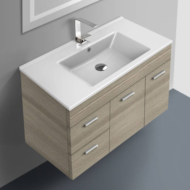 Acf Lor10 By Nameek S Loren 33 Inch Larch Canapa Bathroom Vanity Set Wall Mounted Thebathoutlet