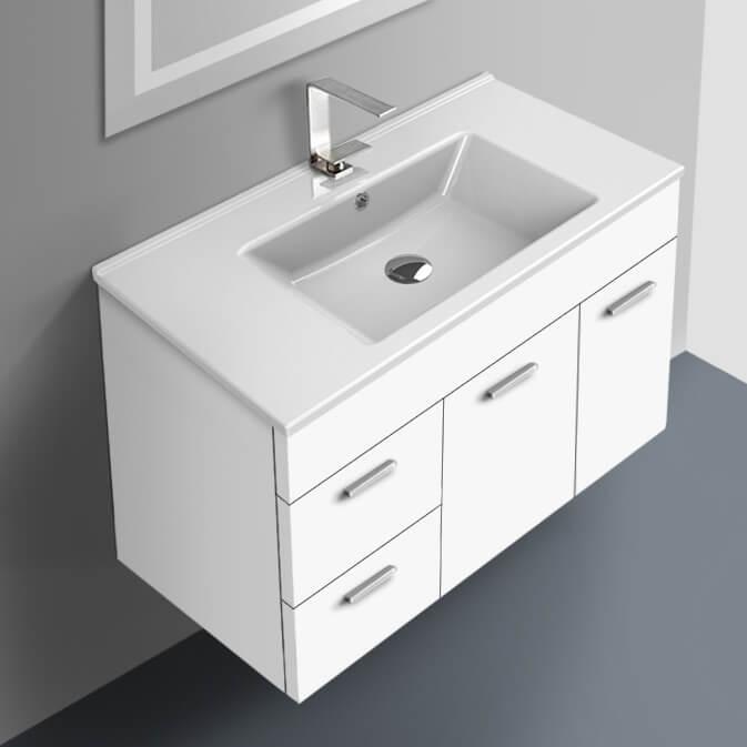 Acf Lor57 By Nameek S Loren 33 Inch Glossy White Bathroom Vanity Set Thebathoutlet