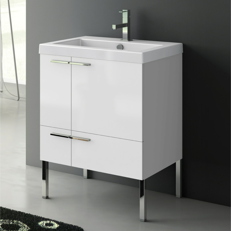 Bathroom Vanity, ACF ANS30-Glossy White, 23 Inch Vanity Cabinet With Fitted Sink