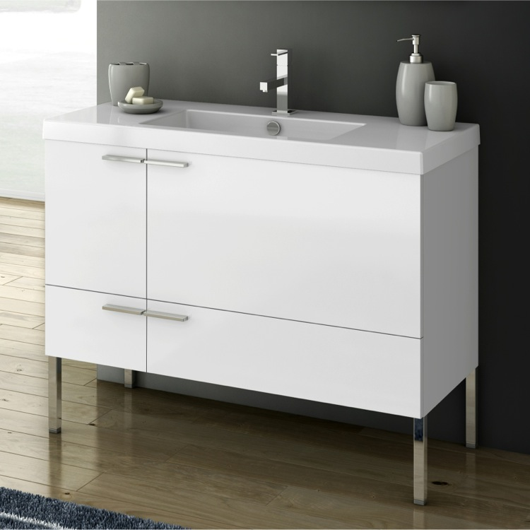 Bathroom Vanity, ACF ANS33-Glossy White, 39 Inch Vanity Cabinet With Fitted Sink