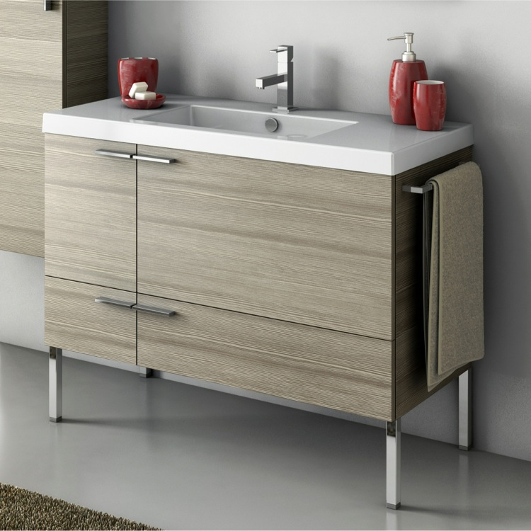 Bathroom Vanity, ACF ANS33-Larch Canapa, 39 Inch Vanity Cabinet With Fitted Sink
