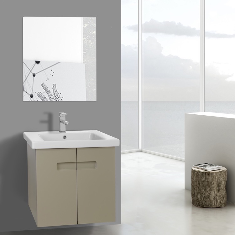 Bathroom Vanity, ACF NY88, 21 Inch PVC Matt Canapa Bathroom Vanity Set with Inset Handles, Mirror Included