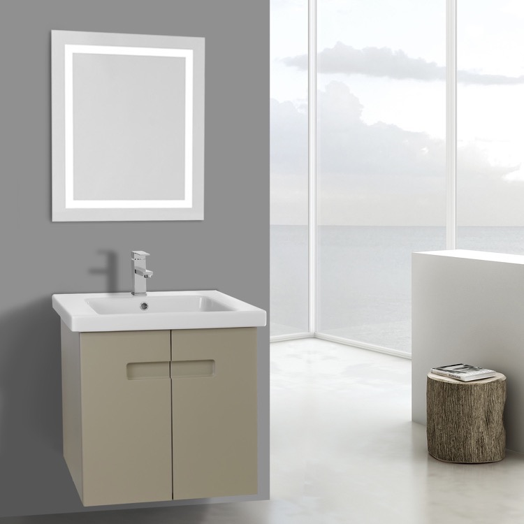 21 Inch PVC Matt Canapa Bathroom Vanity Set With Inset Handles, Lighted  Mirror Included