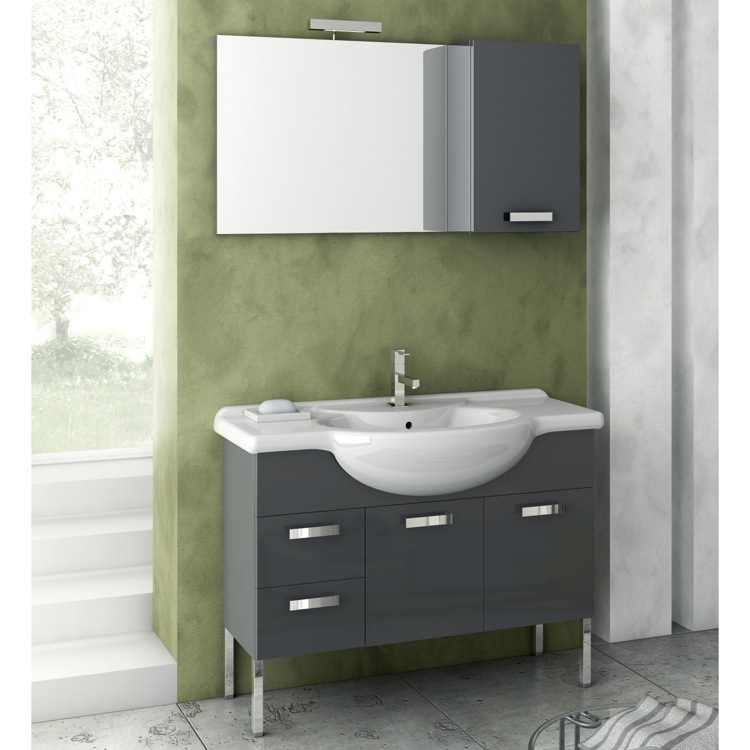 Bathroom Vanity, ACF PH04-Glossy Anthracite, 39 Inch Bathroom Vanity Set